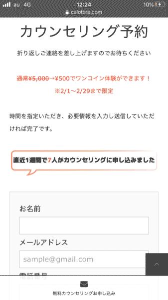 カロリートレードジャパン カウンセリング予約